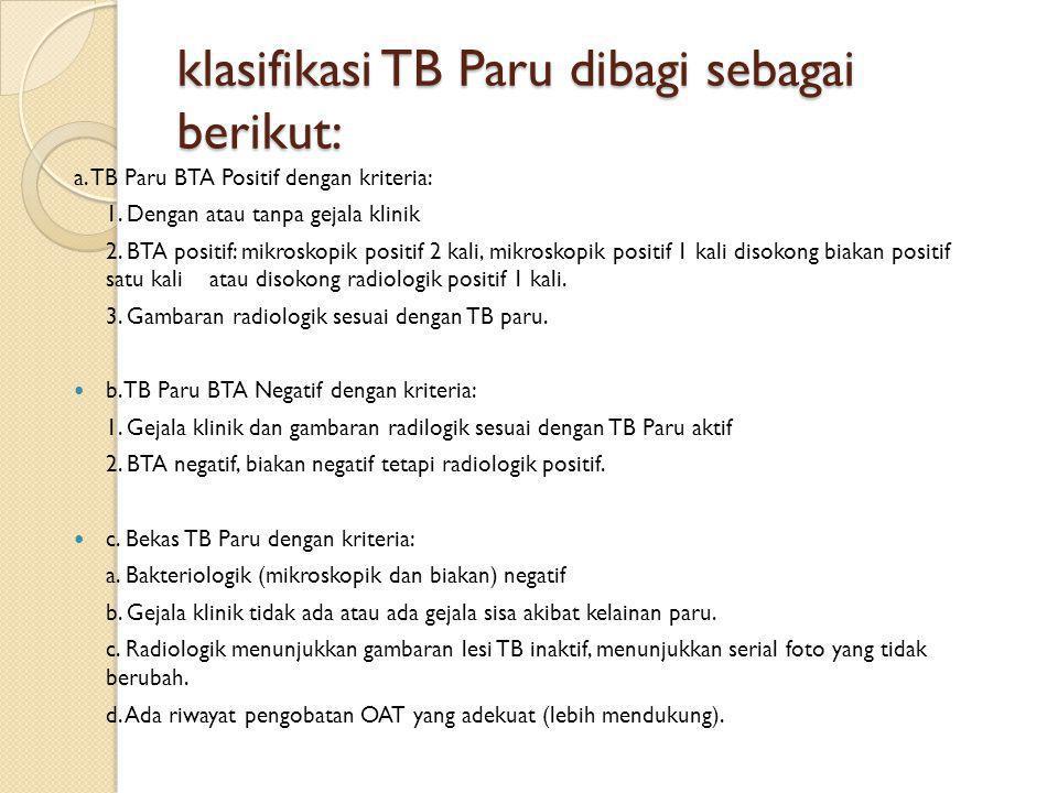 klasifikasi TB Paru dibagi sebagai berikut: a. TB Paru BTA Positif dengan kriteria: 1. Dengan atau tanpa gejala klinik 2. BTA positif: mikroskopik pos