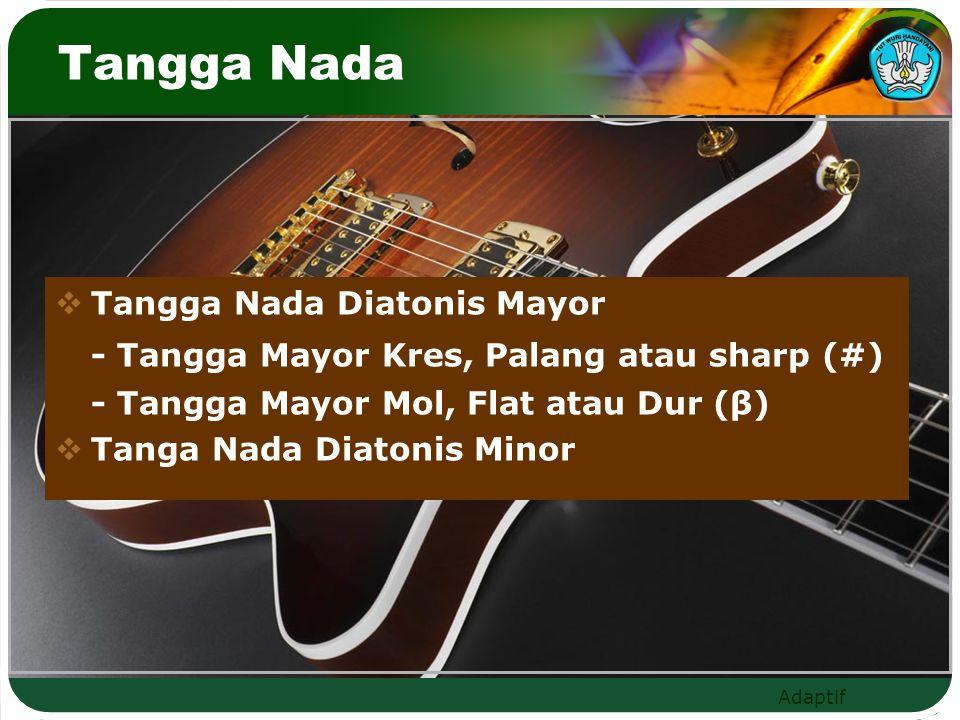 Tangga Nada  Tangga Nada Diatonis Mayor - Tangga Mayor Kres, Palang atau sharp (#) - Tangga Mayor Mol, Flat atau Dur (β)  Tanga Nada Diatonis Minor