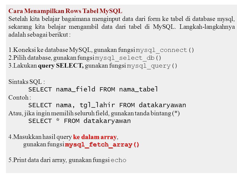 Cara Menampilkan Rows Tabel MySQL Setelah kita belajar bagaimana menginput data dari form ke tabel di database mysql, sekarang kita belajar mengambil data dari tabel di MySQL.