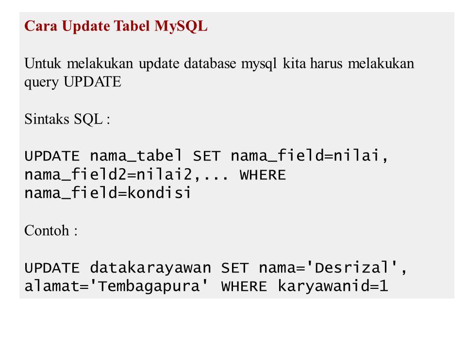 Cara Update Tabel MySQL Untuk melakukan update database mysql kita harus melakukan query UPDATE Sintaks SQL : UPDATE nama_tabel SET nama_field=nilai, nama_field2=nilai2,...