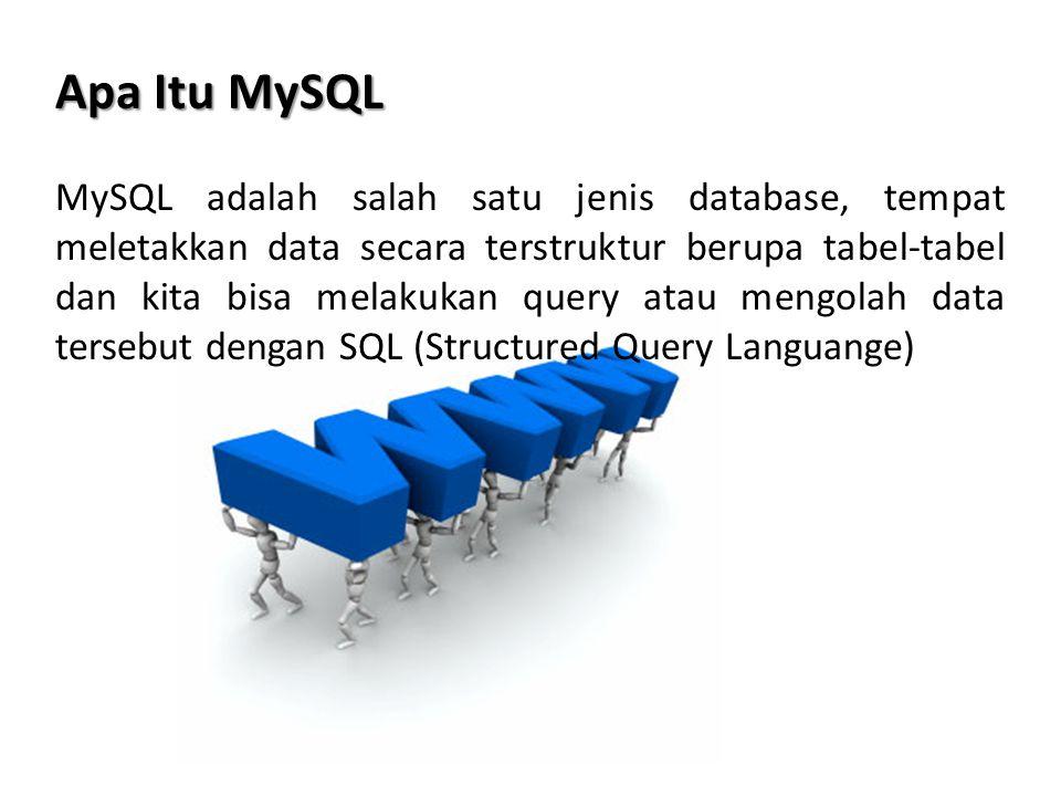 Koneksi ke MySQL Melalui PHP Untuk melakukan koneksi ke MySQL kita menggunakan fungsi mysql_connect() Sintaks : mysql_connect(host, username, password) Contoh : <?php $koneksi = mysql_connect( localhost , root , ); if($koneksi){ echo Koneksi berhasil ; } else{ echo Gagal ; } ?> Jika anda telah berhasil koneksi ke MySQL, anda bisa melakukan apapun terhadap database tersebut tergantung hak-hak anda, anda bisa buat database, buat tabel dan melakukan query