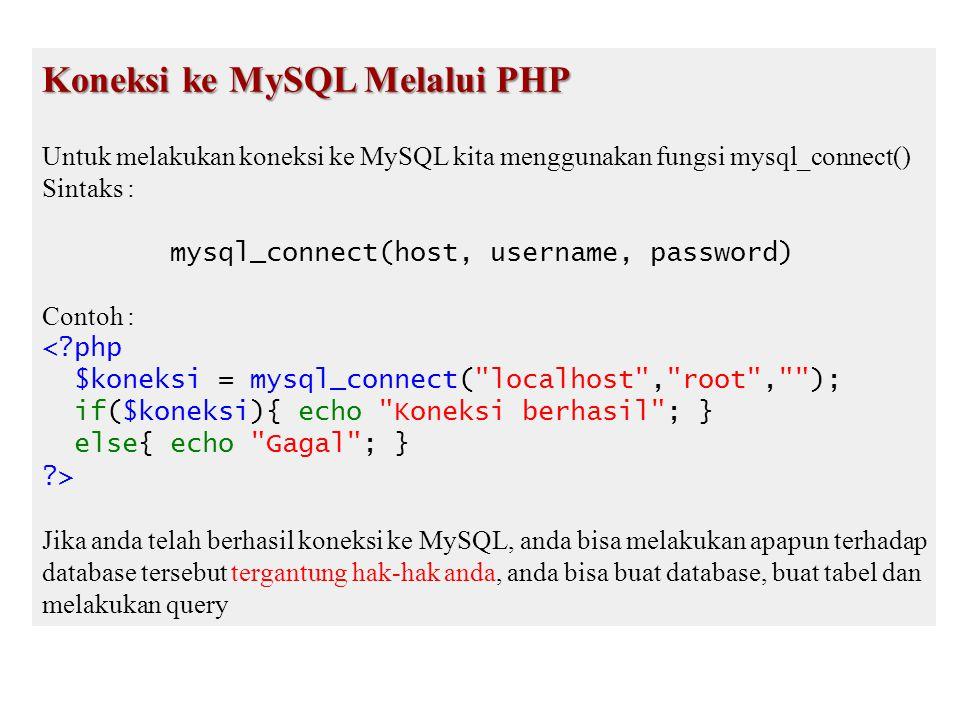 delete.php <?php mysql_connect( localhost , root , ); mysql_select_db( databaseku ); $nomor = $_GET[ no ]; $del = mysql_query( DELETE FROM datakaryawan WHERE karyawanid=$nomor ); if($del){ echo Data berhasil di delete ; }else{ echo Gagal ; } ?>