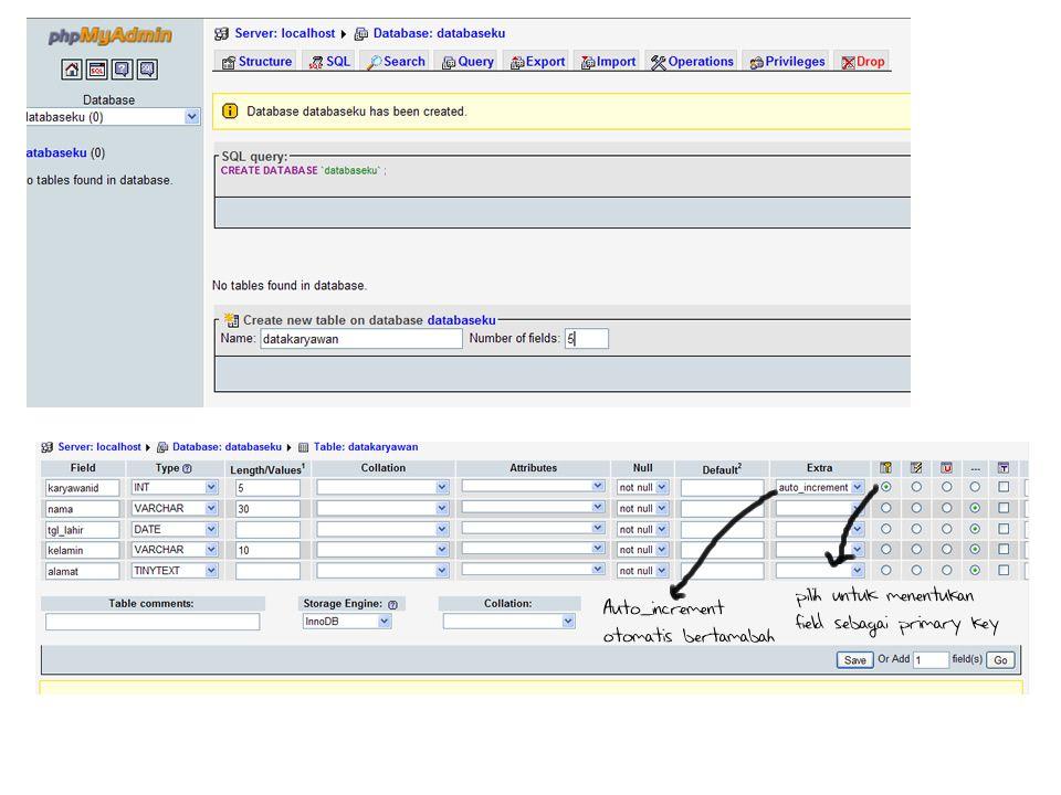 Buat form untuk Update, detail.php <?php mysql_connect( localhost , root , ); mysql_select_db( databaseku ); $nomor = $_GET[ no ]; $data = mysql_query( SELECT * FROM datakaryawan WHERE karyawanid=$nomor ); while($d = mysql_fetch_array($data)) { echo Karyawan id : .$d[ karyawanid ]. ; echo <input type=\ hidden\ name=\ id\ value=\ .$d[ karyawanid ]. \ > ; echo Nama : ; echo <input type=\ text\ name=nama value=\ .$d[ nama ]. \ > ; echo Jenis Kelamin : ; echo ;