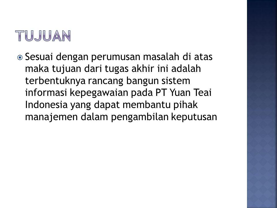  Sesuai dengan perumusan masalah di atas maka tujuan dari tugas akhir ini adalah terbentuknya rancang bangun sistem informasi kepegawaian pada PT Yuan Teai Indonesia yang dapat membantu pihak manajemen dalam pengambilan keputusan