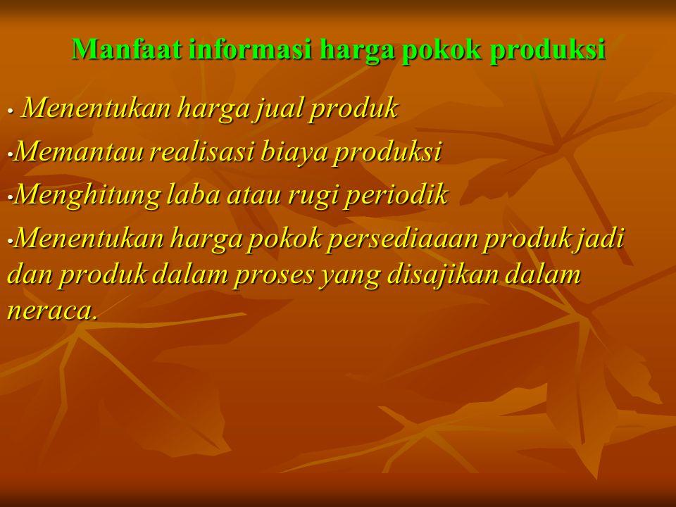 Manfaat informasi harga pokok produksi • Menentukan harga jual produk • Memantau realisasi biaya produksi • Menghitung laba atau rugi periodik • Menen