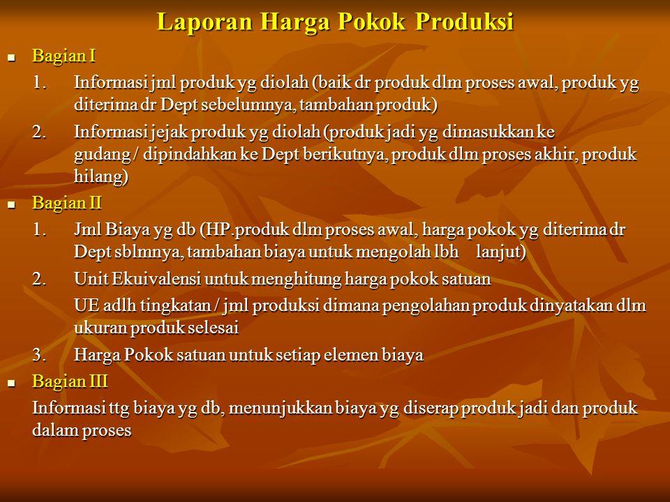 Laporan Harga Pokok Produksi  Bagian I 1. Informasi jml produk yg diolah (baik dr produk dlm proses awal, produk yg diterima dr Dept sebelumnya, tamb
