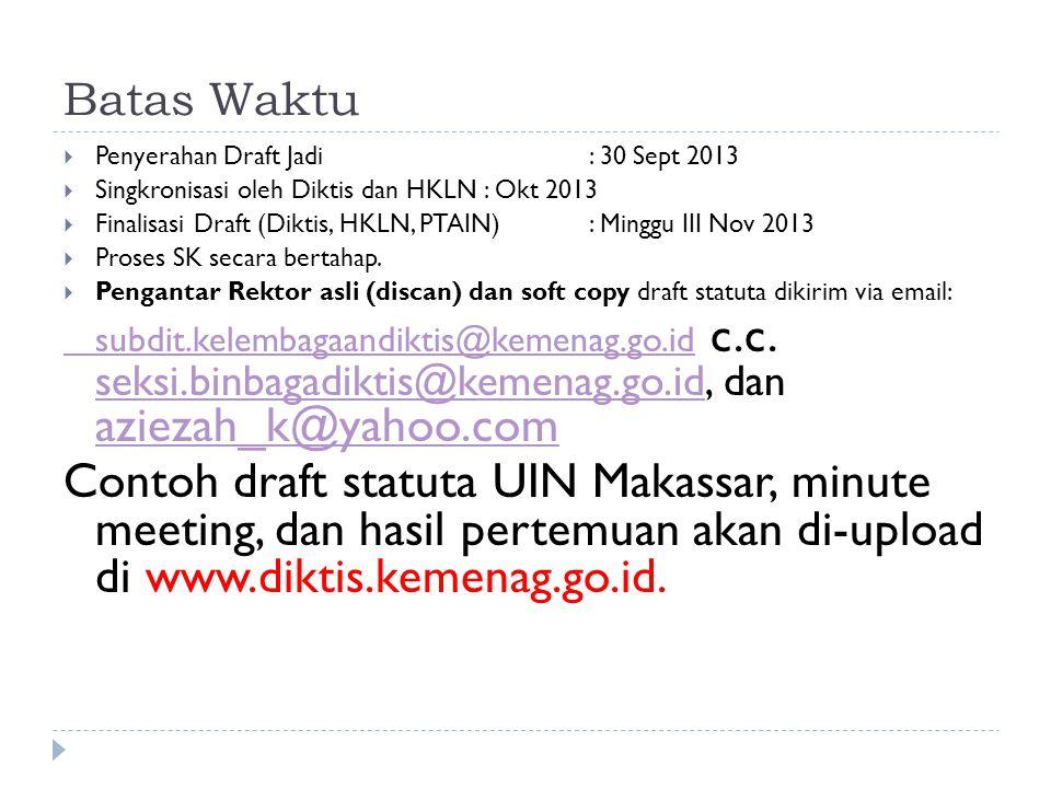Batas Waktu  Penyerahan Draft Jadi : 30 Sept 2013  Singkronisasi oleh Diktis dan HKLN: Okt 2013  Finalisasi Draft (Diktis, HKLN, PTAIN): Minggu III Nov 2013  Proses SK secara bertahap.
