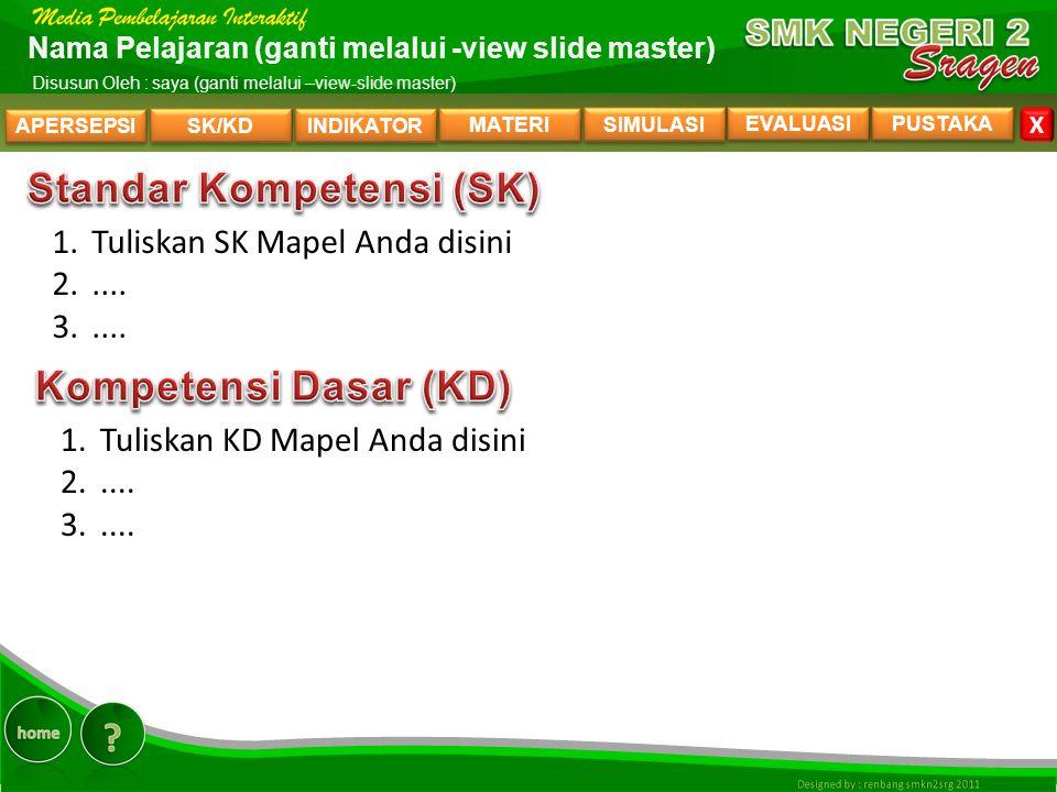 SK/KD INDIKATOR MATERI SIMULASI EVALUASI PUSTAKA X Nama Pelajaran (ganti melalui -view slide master) Disusun Oleh : saya (ganti melalui –view-slide master) 1.Tuliskan SK Mapel Anda disini 2.....