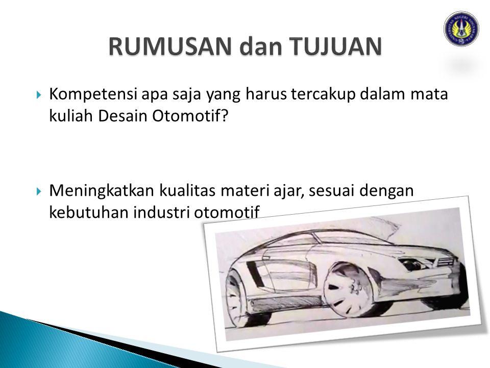  Kompetensi apa saja yang harus tercakup dalam mata kuliah Desain Otomotif.
