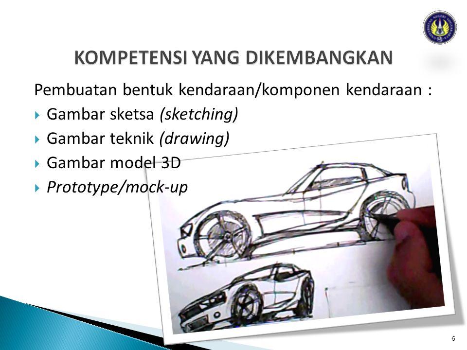 Pembuatan bentuk kendaraan/komponen kendaraan :  Gambar sketsa (sketching)  Gambar teknik (drawing)  Gambar model 3D  Prototype/mock-up 6