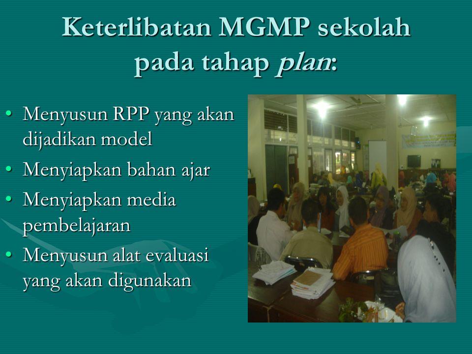 Keterlibatan MGMP sekolah pada tahap plan: •Menyusun RPP yang akan dijadikan model •Menyiapkan bahan ajar •Menyiapkan media pembelajaran •Menyusun alat evaluasi yang akan digunakan