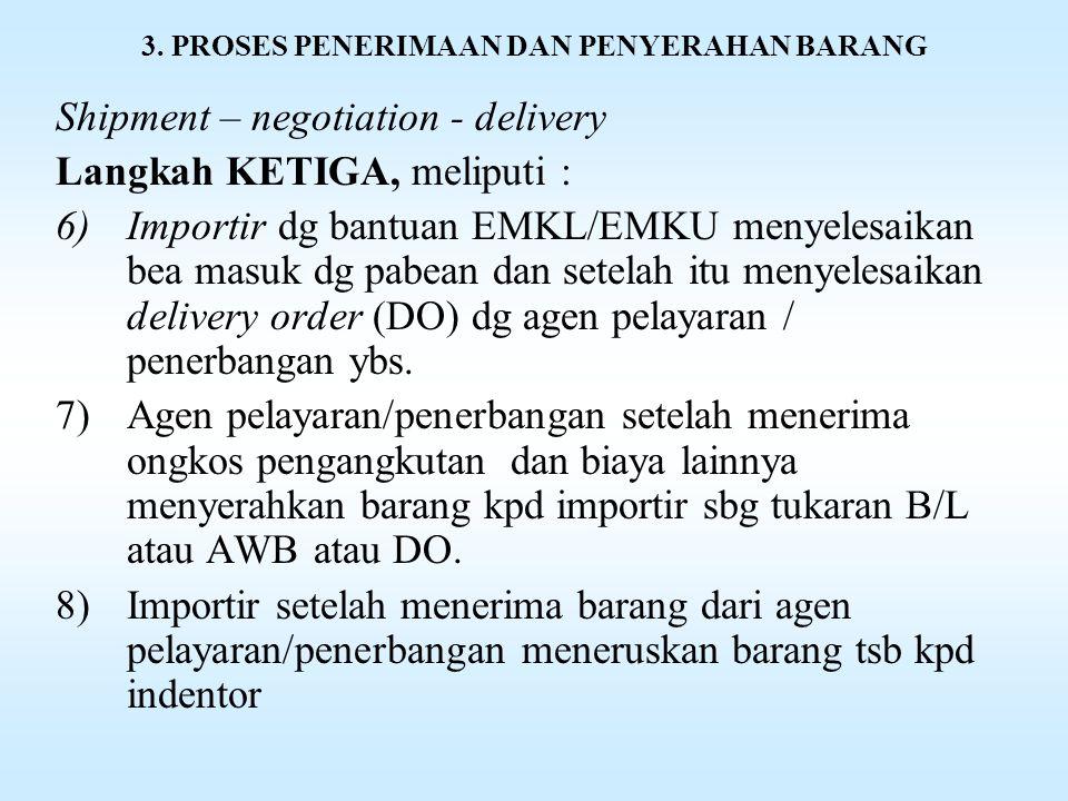 3. PROSES PENERIMAAN DAN PENYERAHAN BARANG Shipment – negotiation - delivery Langkah KETIGA, meliputi : 3)Supplier menguangkan (menegoisir) shipping d