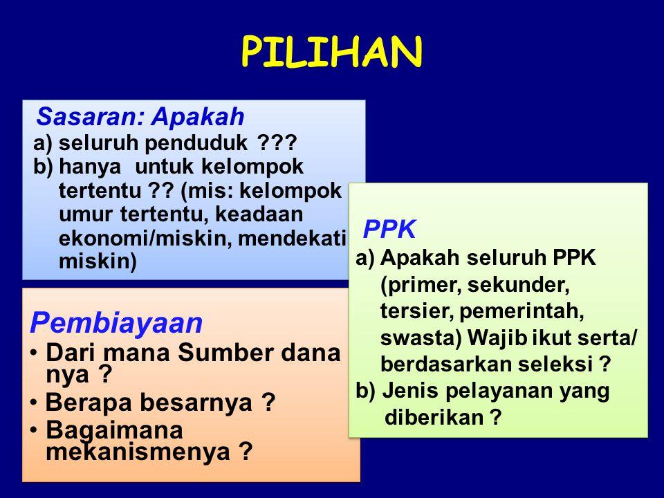 PILIHAN Sasaran: Apakah a)seluruh penduduk ??. b)hanya untuk kelompok tertentu ?.
