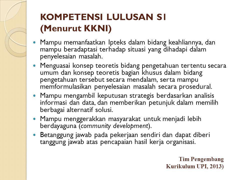 KOMPETENSI LULUSAN S1 (Menurut KKNI)  Mampu memanfaatkan Ipteks dalam bidang keahliannya, dan mampu beradaptasi terhadap situasi yang dihadapi dalam penyelesaian masalah.