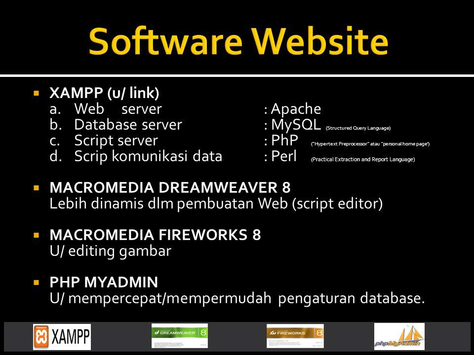  XAMPP (u/ link) a.Webserver: Apache b.Database server: MySQL (Structured Query Language) c.Script server: PhP ( Hypertext Preprocessor atau personal home page') d.Scrip komunikasi data: Perl ( Practical Extraction and Report Language)  MACROMEDIA DREAMWEAVER 8 Lebih dinamis dlm pembuatan Web (script editor)  MACROMEDIA FIREWORKS 8 U/ editing gambar  PHP MYADMIN U/ mempercepat/mempermudah pengaturan database.
