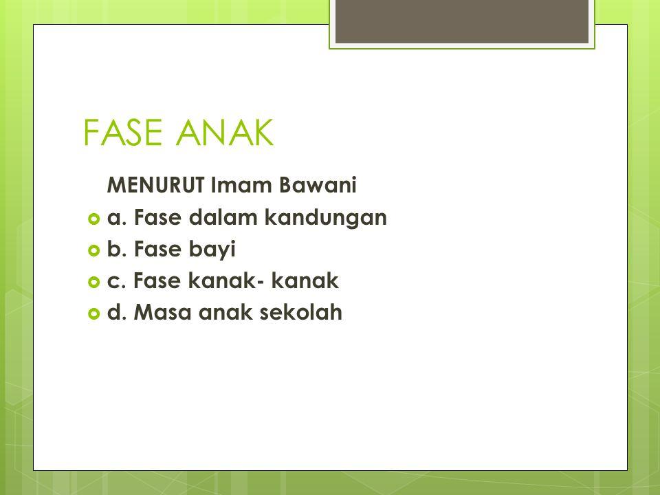 FASE ANAK MENURUT Imam Bawani  a. Fase dalam kandungan  b. Fase bayi  c. Fase kanak- kanak  d. Masa anak sekolah