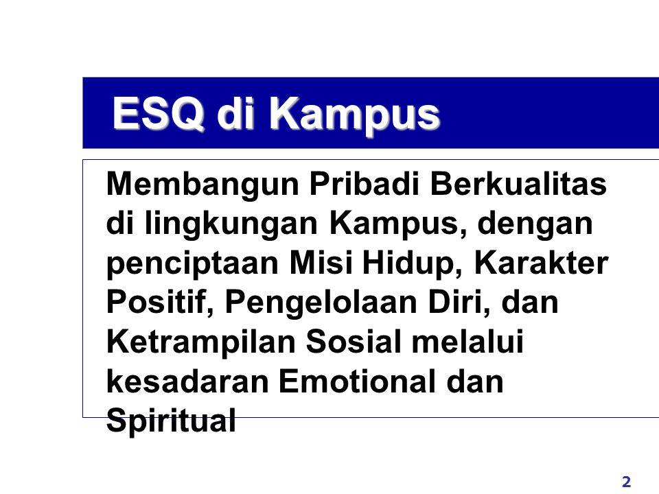 2 www.exploreHR.org ESQ di Kampus Membangun Pribadi Berkualitas di lingkungan Kampus, dengan penciptaan Misi Hidup, Karakter Positif, Pengelolaan Diri, dan Ketrampilan Sosial melalui kesadaran Emotional dan Spiritual