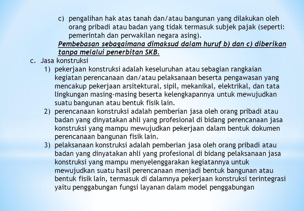 c)pengalihan hak atas tanah dan/atau bangunan yang dilakukan oleh orang pribadi atau badan yang tidak termasuk subjek pajak (seperti: pemerintah dan p