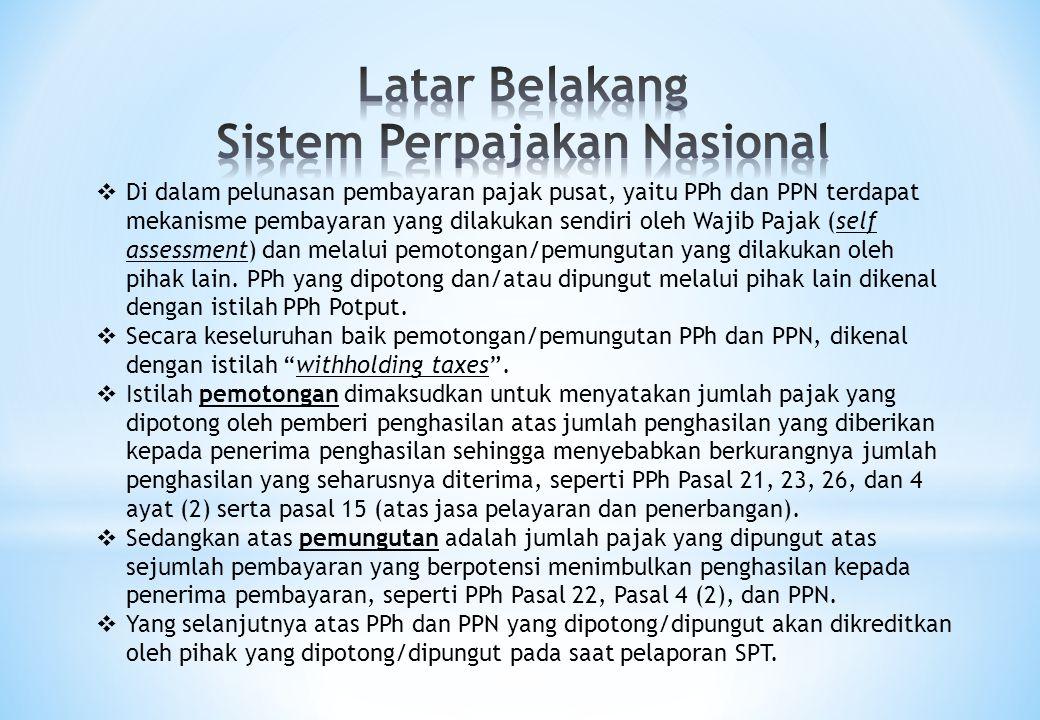  Di dalam pelunasan pembayaran pajak pusat, yaitu PPh dan PPN terdapat mekanisme pembayaran yang dilakukan sendiri oleh Wajib Pajak (self assessment)