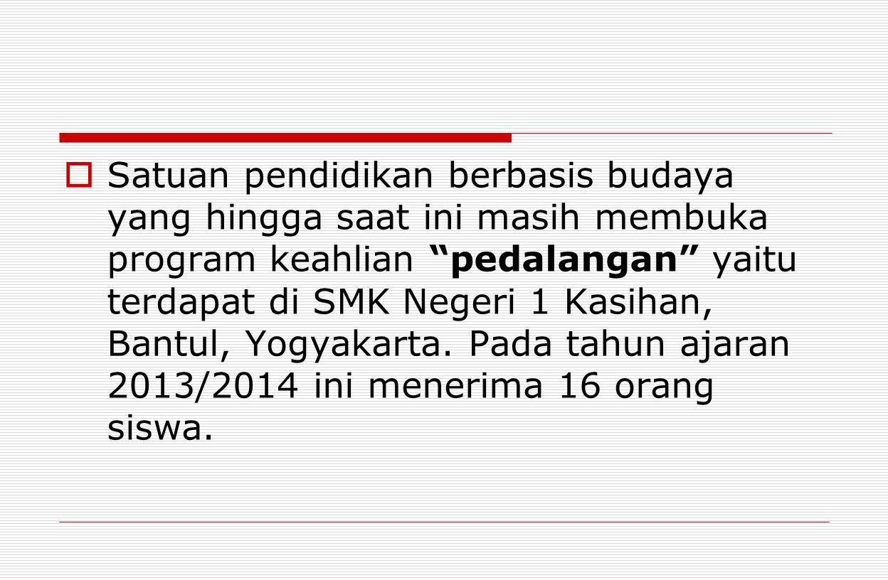  Satuan pendidikan berbasis budaya yang hingga saat ini masih membuka program keahlian pedalangan yaitu terdapat di SMK Negeri 1 Kasihan, Bantul, Yogyakarta.