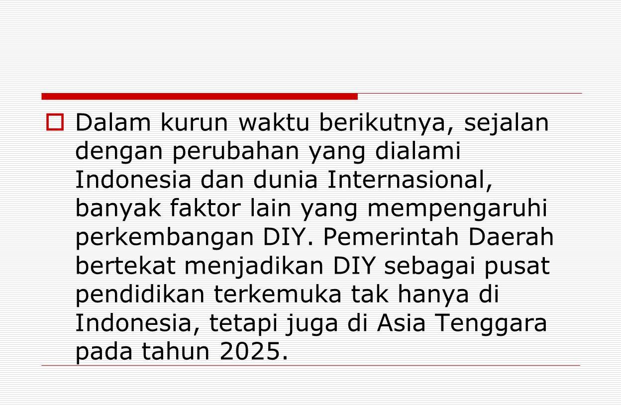  Dalam kurun waktu berikutnya, sejalan dengan perubahan yang dialami Indonesia dan dunia Internasional, banyak faktor lain yang mempengaruhi perkemba