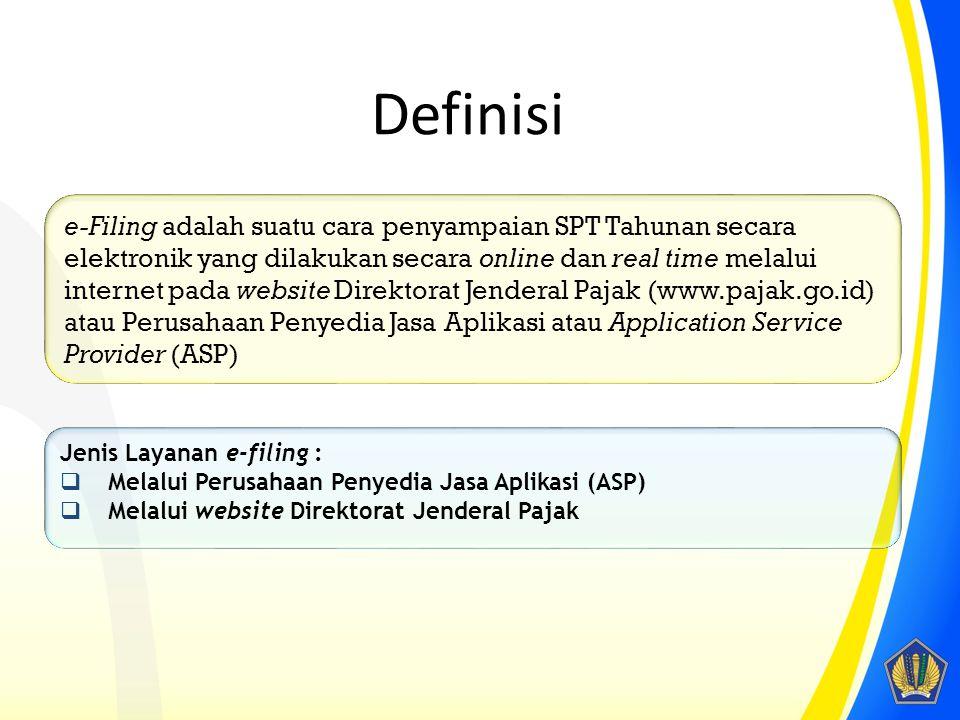 E-filing ASP (Penyedia Jasa Aplikasi) Website DJP NoIssueASPWebsite DJP 1FormulirSeluruh formulir SPT1770 S dan 1770 SS 2Permohonan e-FINKe KPP WP terdaftarKe KPP terdekat 3Media PenyampaianASPWebsite DJP 4Tanda tangan DigitalDigital CertificateKode verifikasi (token) yang dikirim melalui email/SMS 5BiayaMembayar sesuai tarif ASPGratis 6Dokumen PelengkapDikirim secara elektronikTidak perlu dikirim lagi kecuali diminta oleh KPP