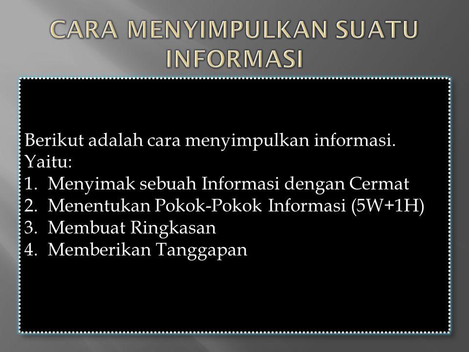 Berikut adalah cara menyimpulkan informasi. Yaitu: 1.Menyimak sebuah Informasi dengan Cermat 2.Menentukan Pokok-Pokok Informasi (5W+1H) 3.Membuat Ring