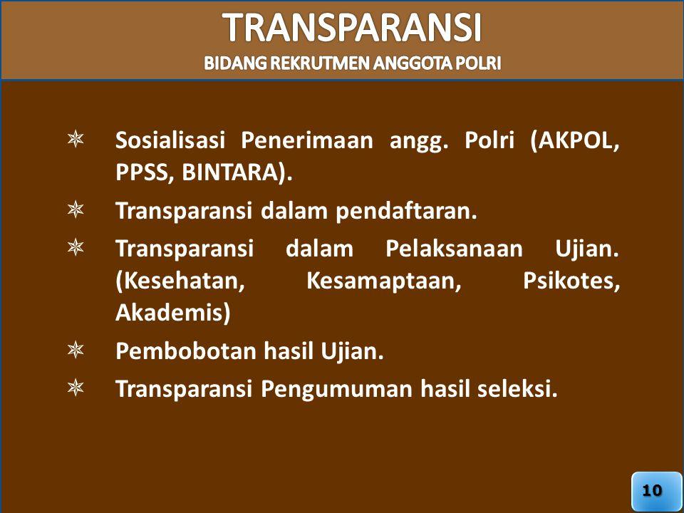 10  Sosialisasi Penerimaan angg. Polri (AKPOL, PPSS, BINTARA).  Transparansi dalam pendaftaran.  Transparansi dalam Pelaksanaan Ujian. (Kesehatan,