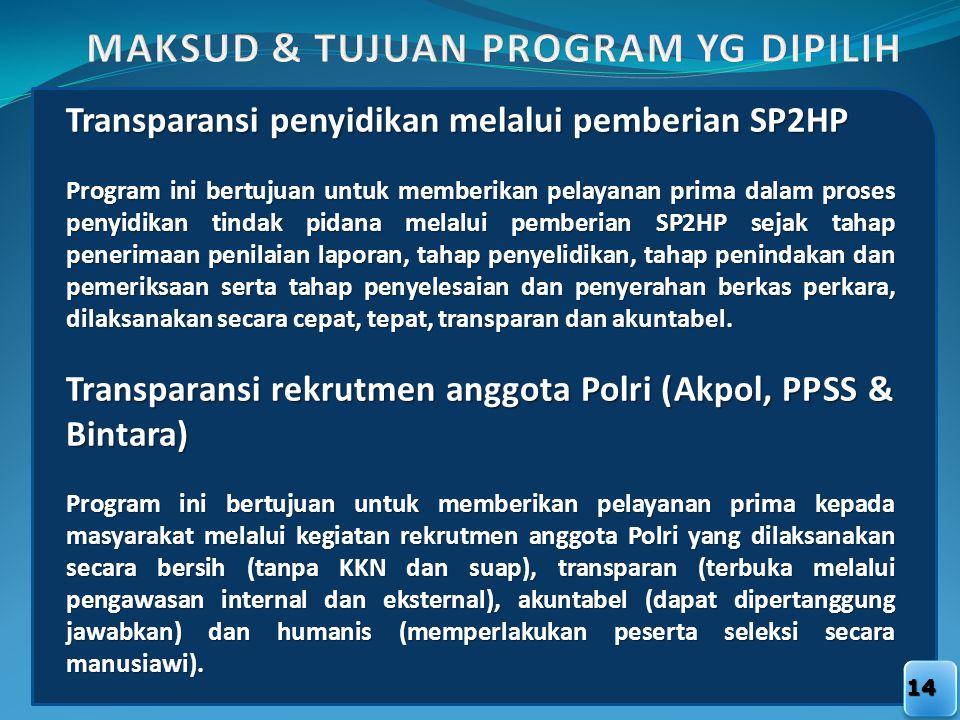 14 Transparansi penyidikan melalui pemberian SP2HP Program ini bertujuan untuk memberikan pelayanan prima dalam proses penyidikan tindak pidana melalu