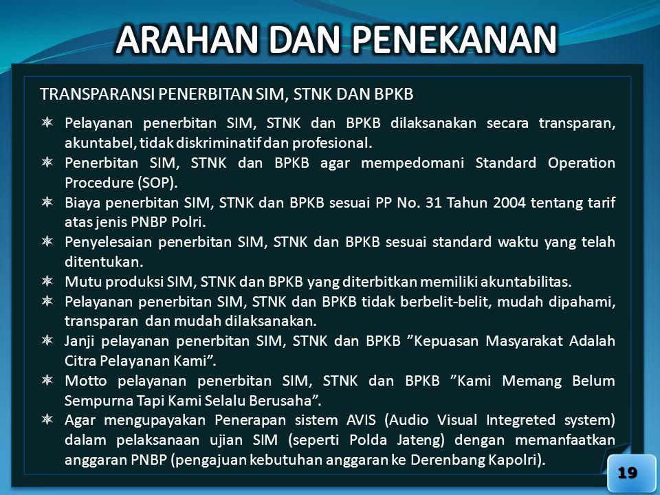 19 TRANSPARANSI PENERBITAN SIM, STNK DAN BPKB  Pelayanan penerbitan SIM, STNK dan BPKB dilaksanakan secara transparan, akuntabel, tidak diskriminatif