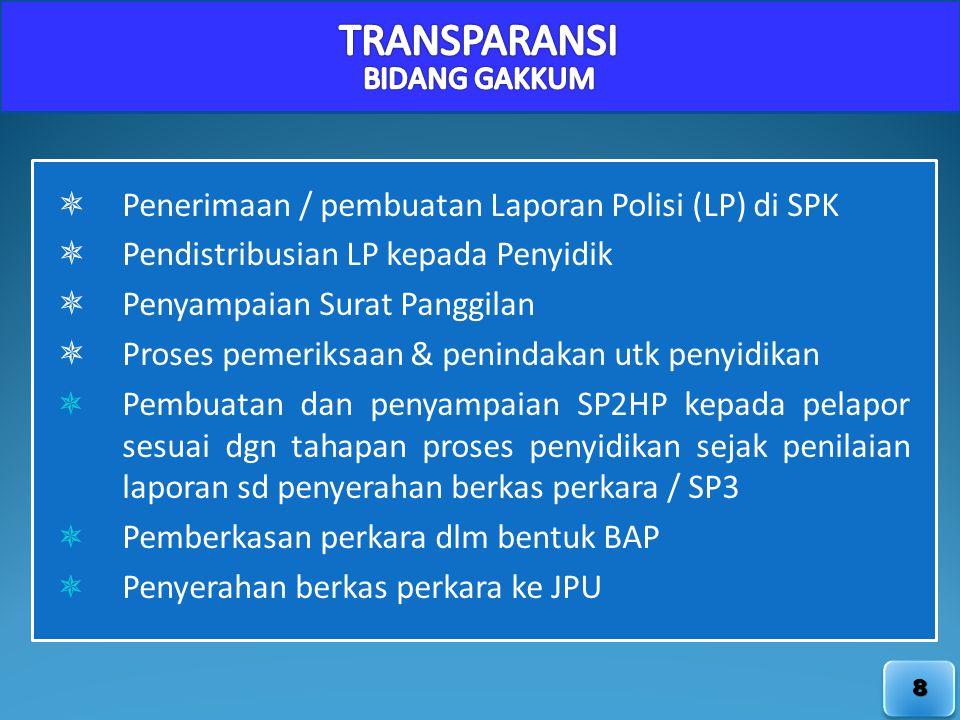 8  Penerimaan / pembuatan Laporan Polisi (LP) di SPK  Pendistribusian LP kepada Penyidik  Penyampaian Surat Panggilan  Proses pemeriksaan & penind