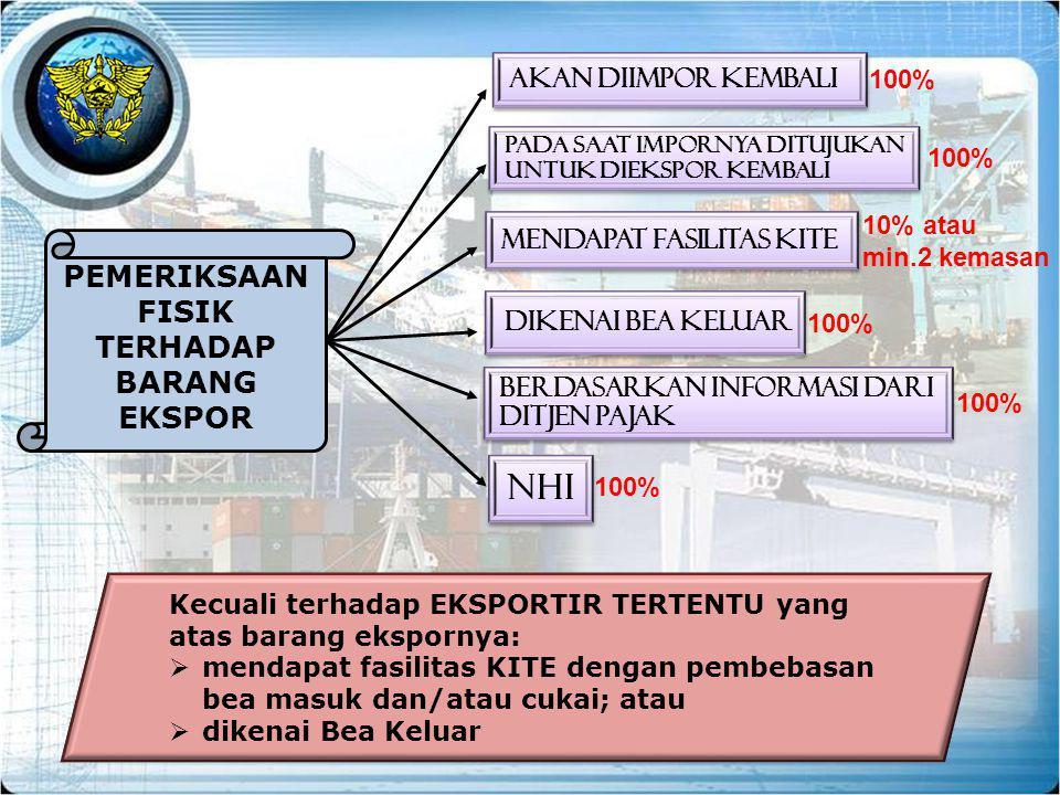 Dikenai Bea Keluar mendapat fasilitas KITE Berdasarkan Informasi dari DitJen Pajak NHI Pada saat impornya ditujukan untuk diekspor kembali Akan diimpo