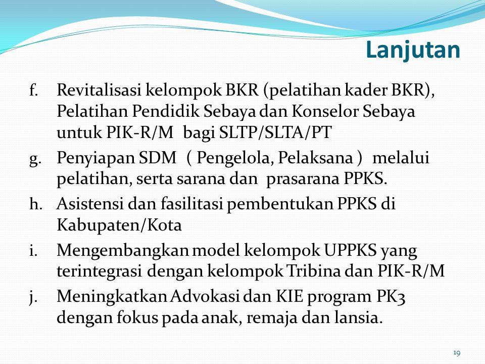Lanjutan f. Revitalisasi kelompok BKR (pelatihan kader BKR), Pelatihan Pendidik Sebaya dan Konselor Sebaya untuk PIK-R/M bagi SLTP/SLTA/PT g. Penyiapa