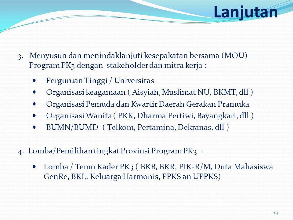 Lanjutan 3. Menyusun dan menindaklanjuti kesepakatan bersama (MOU) Program PK3 dengan stakeholder dan mitra kerja :  Perguruan Tinggi / Universitas 