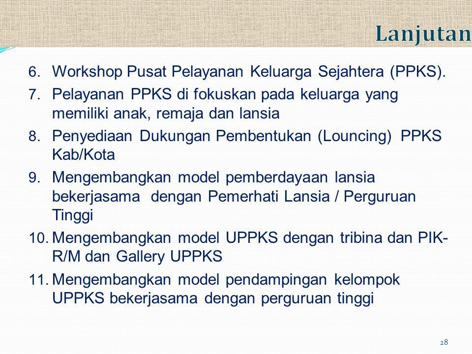 6. Workshop Pusat Pelayanan Keluarga Sejahtera (PPKS). 7. Pelayanan PPKS di fokuskan pada keluarga yang memiliki anak, remaja dan lansia 8. Penyediaan