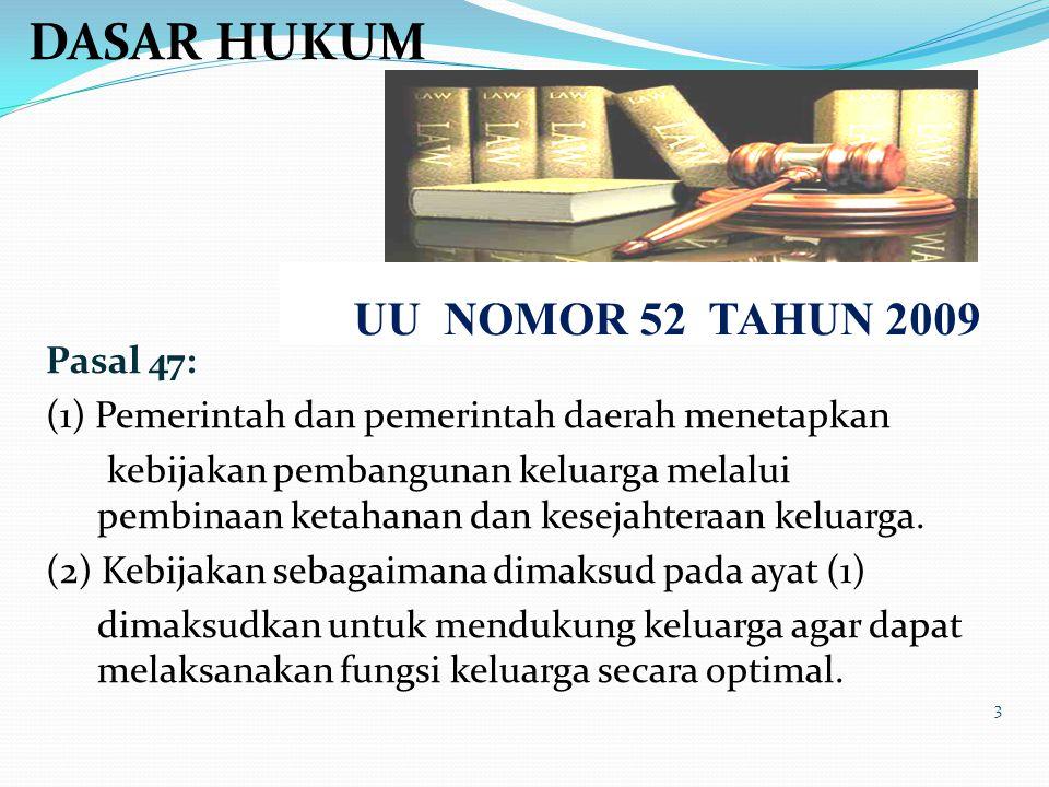 Pasal 48: (1) Kebijakan pembangunan keluarga melalui pembinaan ketahanan dan kesejahteraan keluarga sebagaimana dimaksud dalam Pasal 47 dilaksanakan dengan cara: a.