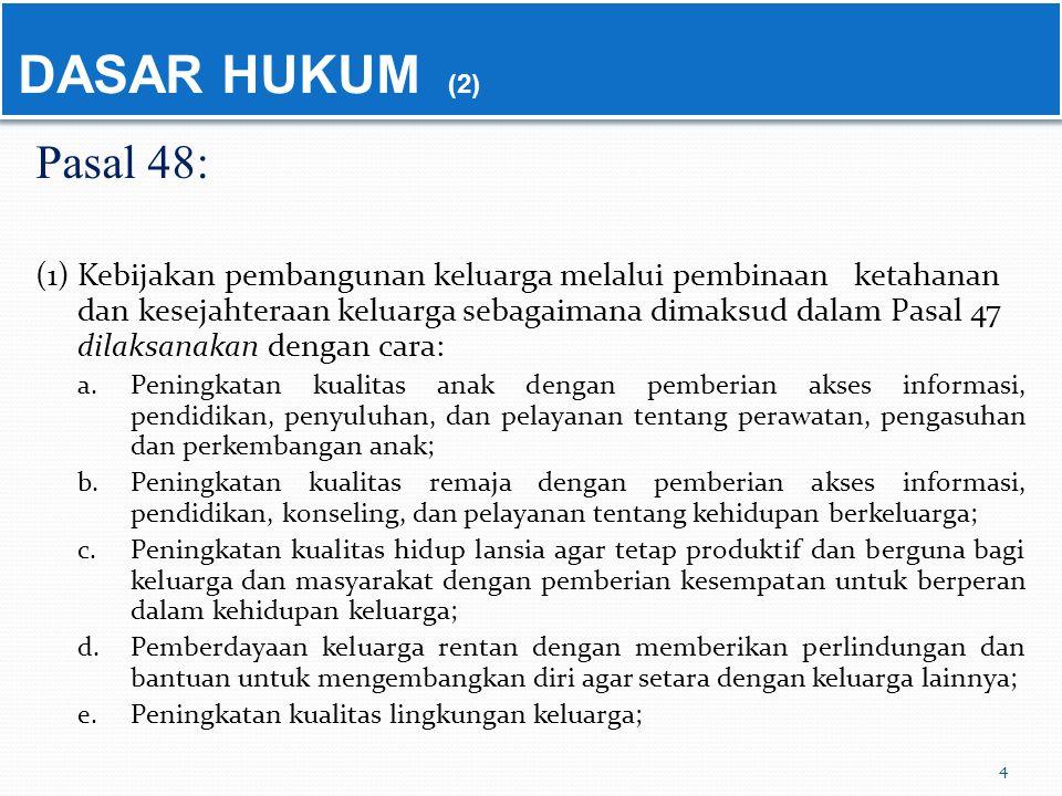 Pasal 48: (1) Kebijakan pembangunan keluarga melalui pembinaan ketahanan dan kesejahteraan keluarga sebagaimana dimaksud dalam Pasal 47 dilaksanakan d