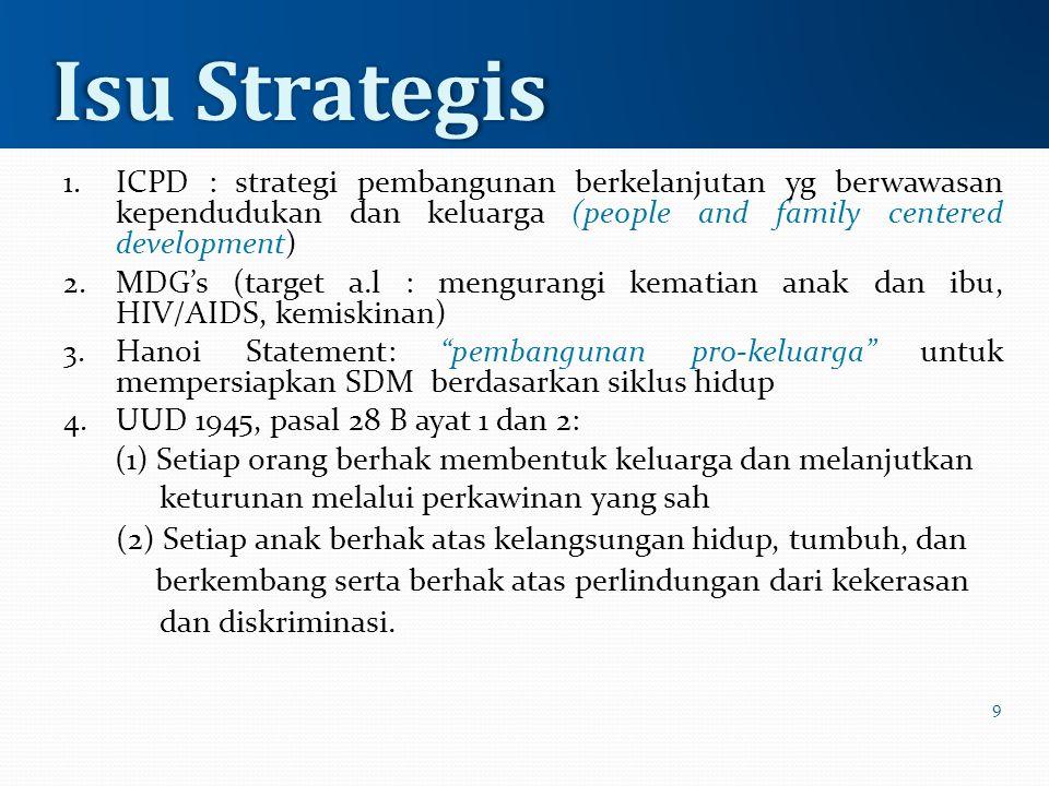 1. ICPD : strategi pembangunan berkelanjutan yg berwawasan kependudukan dan keluarga (people and family centered development) 2. MDG's (target a.l : m