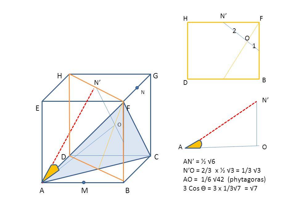H G N E F O D C A M B N' 1 2 O F B D H OA AN' = ½ √6 N'O = 2/3 x ½ √3 = 1/3 √3 AO = 1/6 √42 (phytagoras) 3 Cos Ө = 3 x 1/3√7 = √7