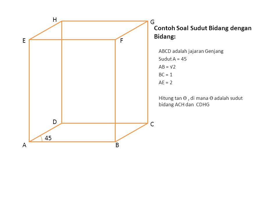 Contoh Soal Sudut Bidang dengan Bidang: ABCD adalah jajaran Genjang Sudut A = 45 AB = √2 BC = 1 AE = 2 Hitung tan Ө, di mana Ө adalah sudut bidang ACH dan CDHG AB C D EF G H 45