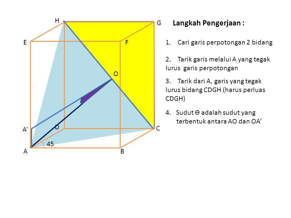 Langkah Pengerjaan : 1.Cari garis perpotongan 2 bidang AB C D EF G H 2.