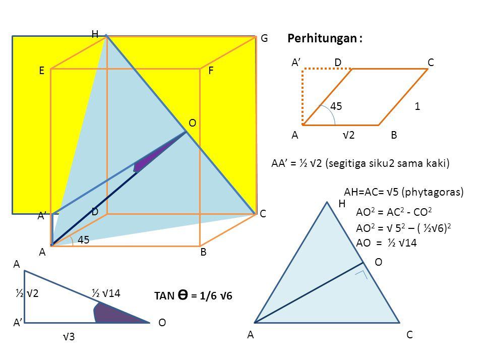 A ½ √2 ½ √14 A' O √3 H O A C A' D C 45 1 A √2 B Perhitungan : AB C D EF G H A' O 45 AA' = ½ √2 (segitiga siku2 sama kaki) AH=AC= √5 (phytagoras) AO 2 = AC 2 - CO 2 AO 2 = √ 5 2 – ( ½√6) 2 AO = ½ √14 TAN Ө = 1/6 √6