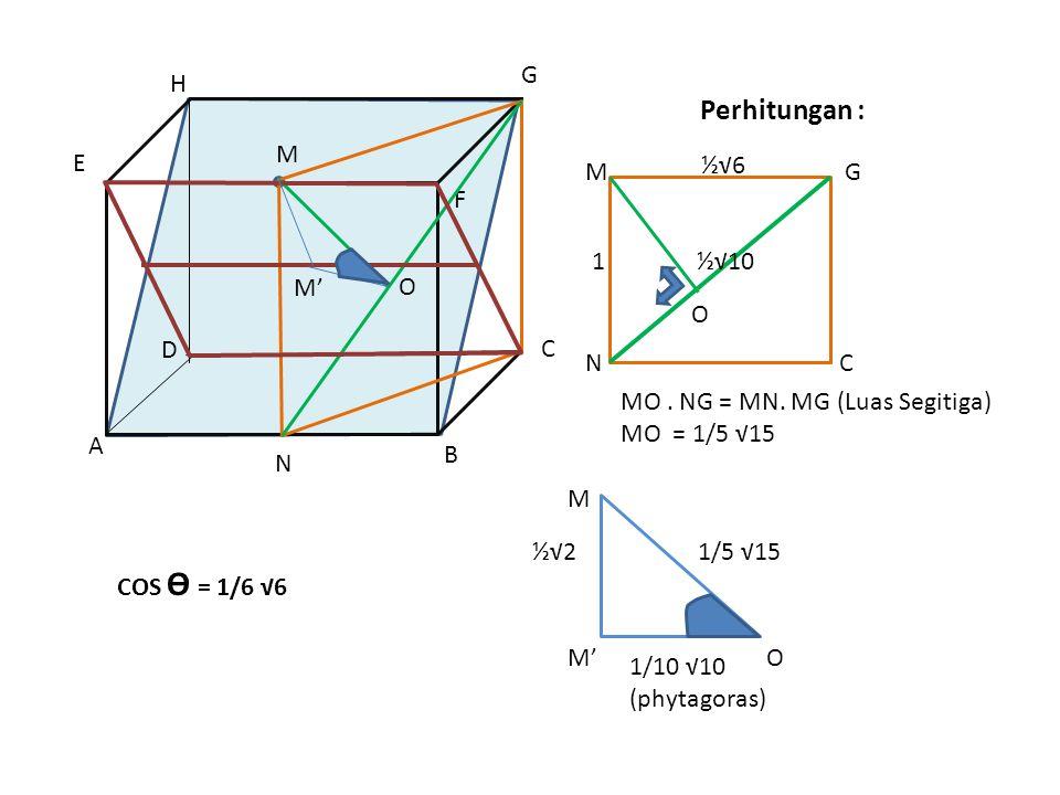 M M' O Perhitungan : A D C F G B E H M O M' M G N C N ½√6 1 ½√10 O MO.