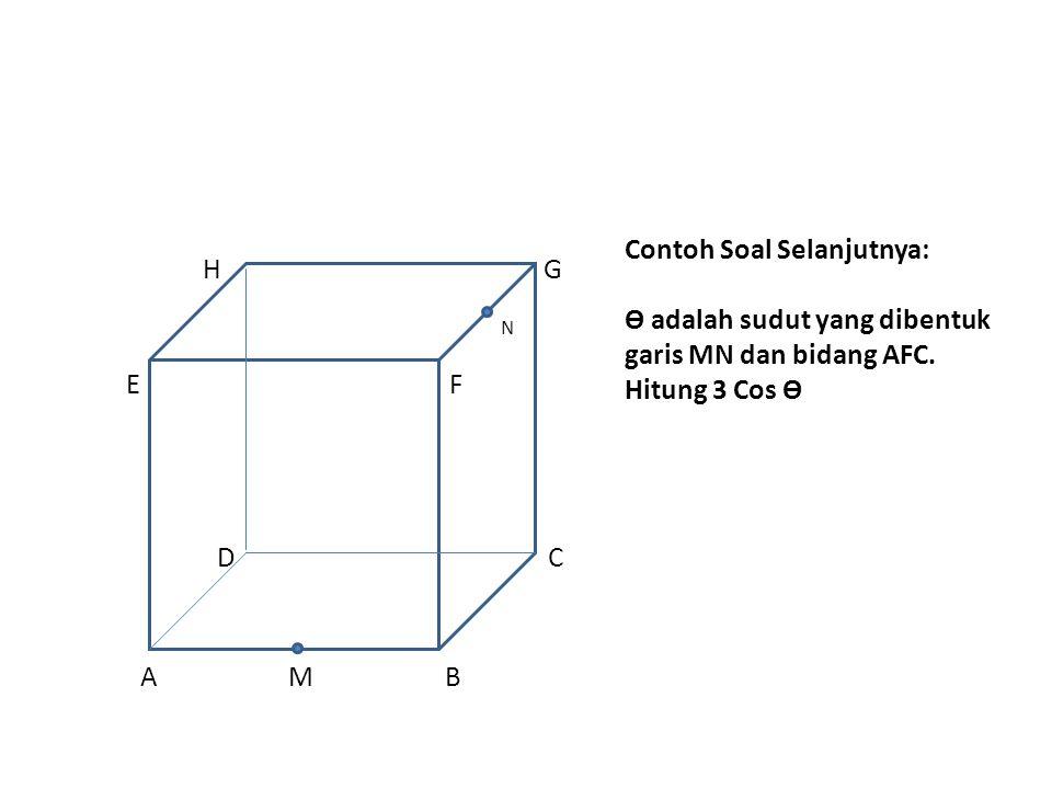 Contoh Soal Selanjutnya: Ө adalah sudut yang dibentuk garis MN dan bidang AFC.