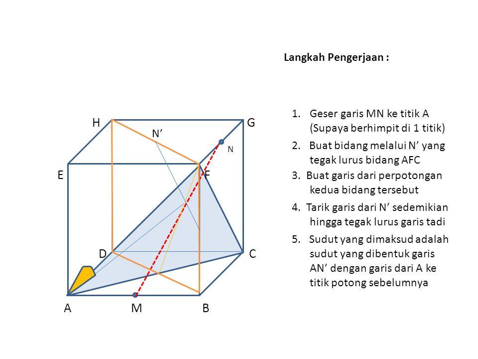 Langkah Pengerjaan : H G N E F D C A M B 1.Geser garis MN ke titik A (Supaya berhimpit di 1 titik) N' 2.