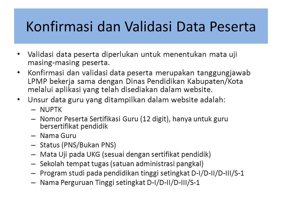 Konfirmasi dan Validasi Data Peserta • Validasi data peserta diperlukan untuk menentukan mata uji masing-masing peserta.