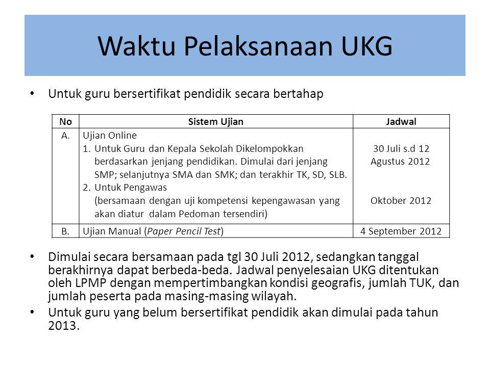 Waktu Pelaksanaan UKG • Untuk guru bersertifikat pendidik secara bertahap • Dimulai secara bersamaan pada tgl 30 Juli 2012, sedangkan tanggal berakhirnya dapat berbeda-beda.
