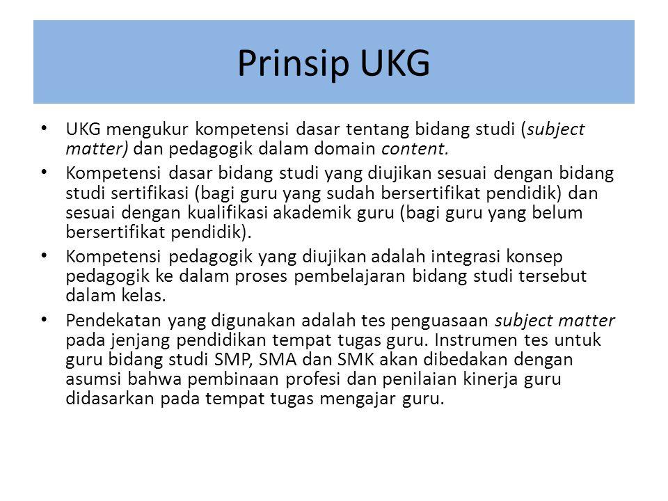 Prinsip UKG • UKG mengukur kompetensi dasar tentang bidang studi (subject matter) dan pedagogik dalam domain content.