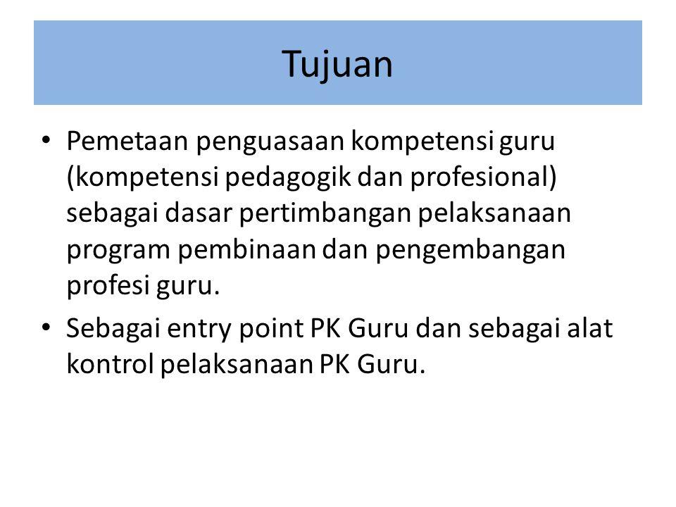 Tujuan • Pemetaan penguasaan kompetensi guru (kompetensi pedagogik dan profesional) sebagai dasar pertimbangan pelaksanaan program pembinaan dan pengembangan profesi guru.