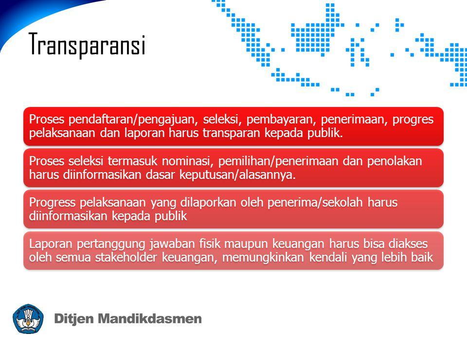 Transparansi Proses pendaftaran/pengajuan, seleksi, pembayaran, penerimaan, progres pelaksanaan dan laporan harus transparan kepada publik. Proses sel
